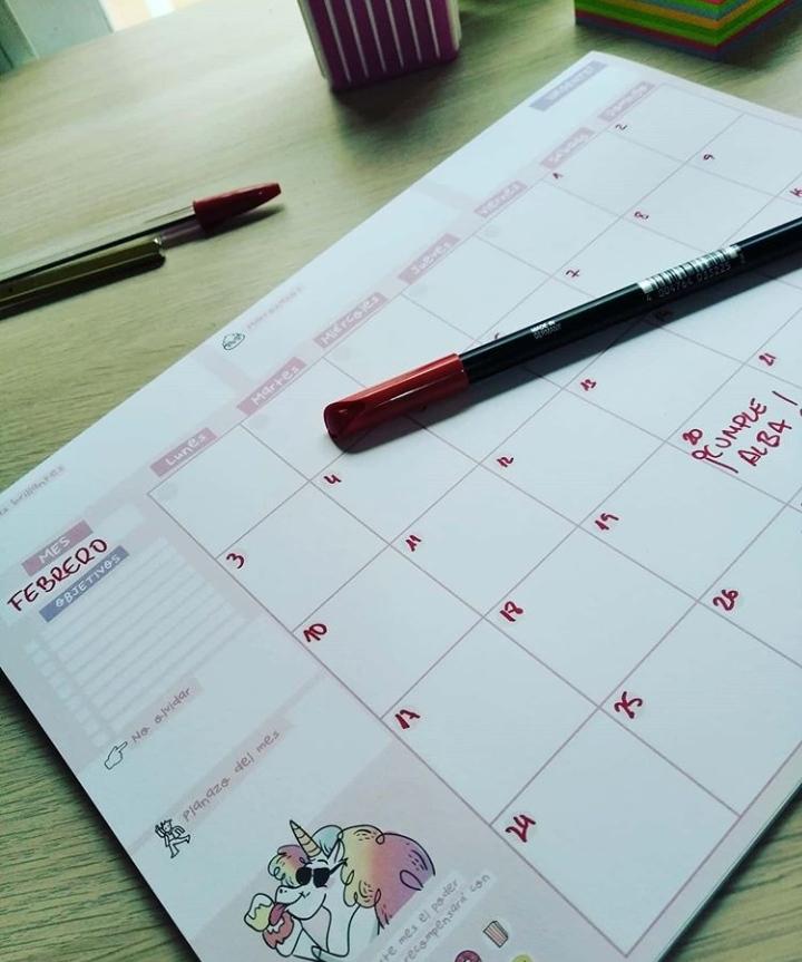 Calendario mensual para oposición