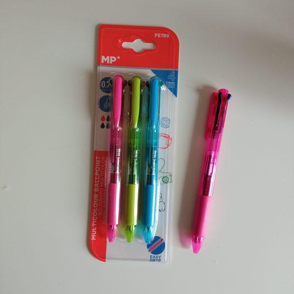 Bolígrafo 4 colores mp 3 ud rosa