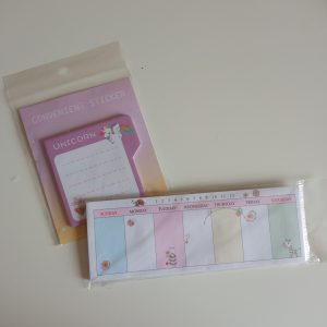Mini calendario + notas adhesivas unicornio