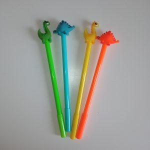 Bolígrafo dinosaurio punta fina naranja, azul, verde o amarillo pack 3 unidades