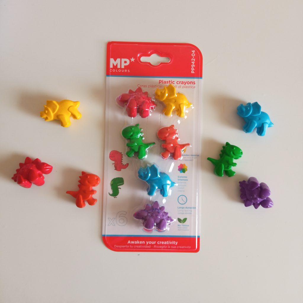 Ceras plásticas dinosaurios 6 unidades colores