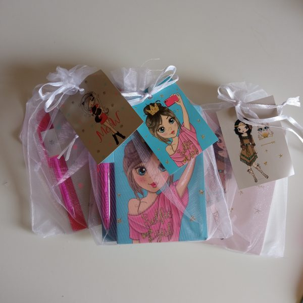 Mini libreta + boligrafo bismarck girls camiseta rosa