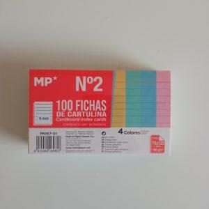 100 fichas cartulina nº2, 4 colores